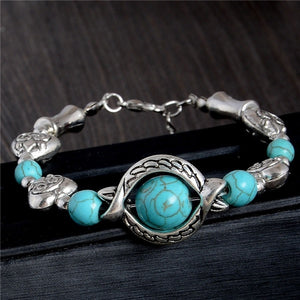 Tibetan Silver Plated Turquoise Stone Beads Vintage Adjustable Chain Bracelet
