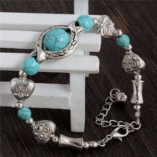 Load image into Gallery viewer, Tibetan Silver Plated Turquoise Stone Beads Vintage Adjustable Chain Bracelet