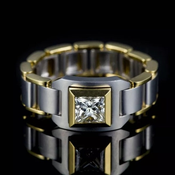 Luxury 18K Gold Natural White Sapphire Chain Men's Ring