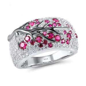 Luxurious Women 925 Sterling Silver Band Rings Plum Tree Branch Fushsia