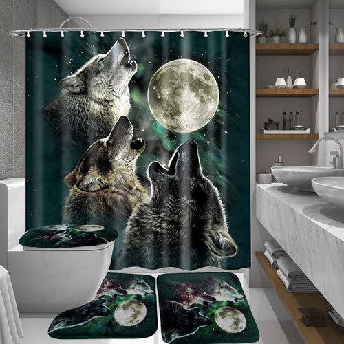 Full Moon Night Of Wolf Cool Bathroom Decoration Waterproof Shower Curtain Non-Slip Toilet Cover Mat Rugs