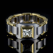 Load image into Gallery viewer, Luxury 18K Gold Natural White Sapphire Chain Men's Ring
