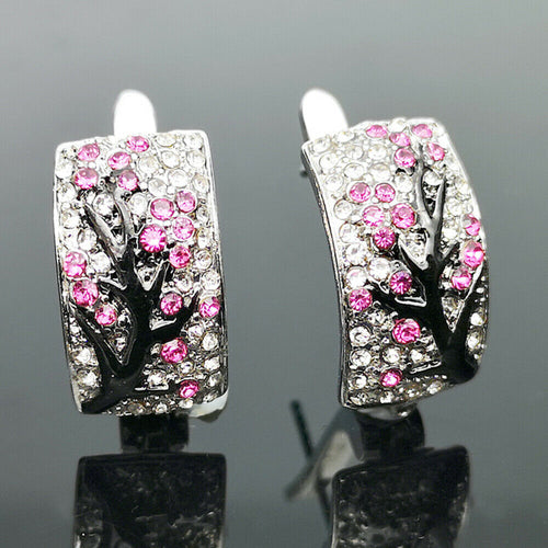 Beautiful 925 Silver Red Ruby Flower Plum Blossom Earrings
