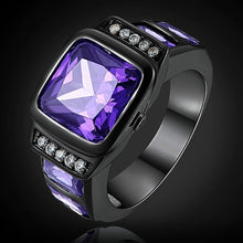 Load image into Gallery viewer, Men's Amethyst Black Gold Filled Precious Bussines Ring