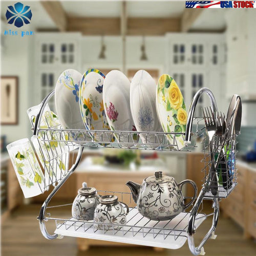 S-shaped Dual Layers Dish Drying Rack Kitchen Collection Shelf Drainer Organizer