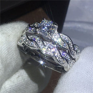 Shining Womens 925 Sterling Silver 1.5ct Diamond Ring