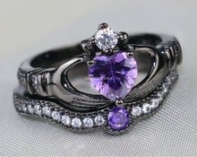 Load image into Gallery viewer, 1CT Heart Amethyst Black Gold Filled Ring Sets