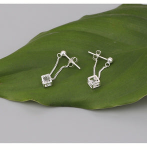 925 Sterling Silver Hollow Magic Cube Pendant Earrings