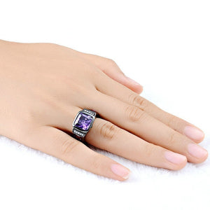 Men's Amethyst Black Gold Filled Precious Bussines Ring