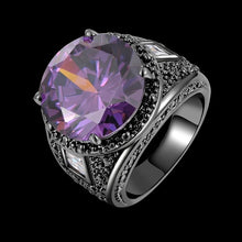Load image into Gallery viewer, Mens Amethyst Emerald Black White Zircon 14k Black Gold Ring