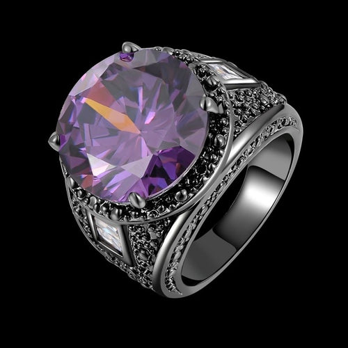 Mens Amethyst Emerald Black White Zircon 14k Black Gold Ring