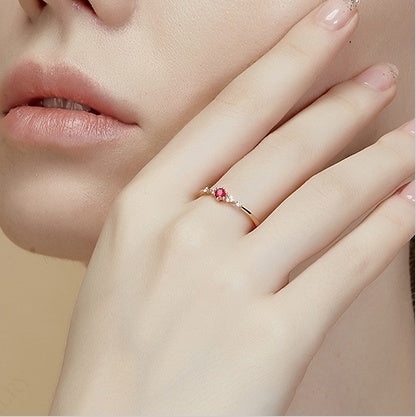18k Rose Gold high quality Ruby Ring for woman