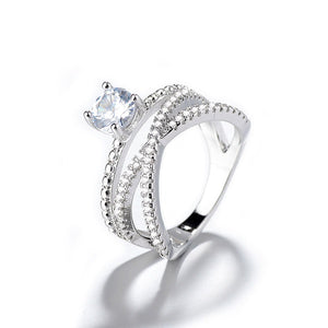 Unique Luxury 925 Sterling Silver Double Layer Natural White Sapphire Ring