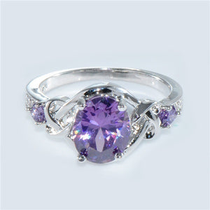 Round Cut Amethyst 10kt White Gold Filled Ring for Woman