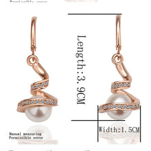 Load image into Gallery viewer, Pearl Dangle Crystal Earrings Gold Silver Plated Ear stud