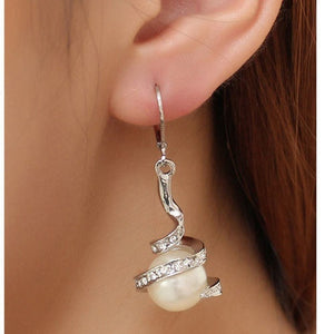 Pearl Dangle Crystal Earrings Gold Silver Plated Ear stud