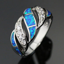 Load image into Gallery viewer, 925 Sterling Silver Jewelry Blues Fire Opals White Zircon Ring