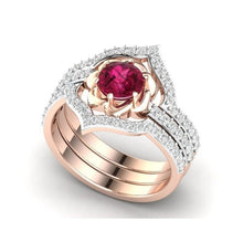 Load image into Gallery viewer, 3pcs / set 14K Rose gold Natural Ruby  latest Design unique Rose Diamond Ring