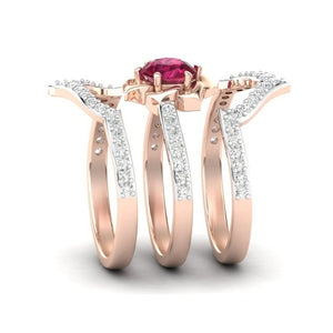 3pcs / set 14K Rose gold Natural Ruby  latest Design unique Rose Diamond Ring