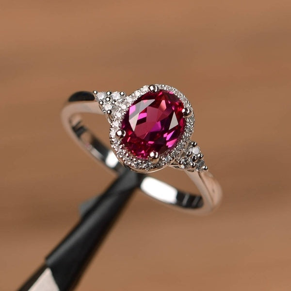 Exquisite  Platinum Plated Oval Ruby Women's Luxury Diamond Ring