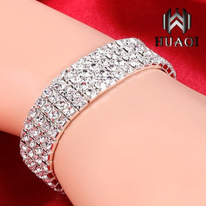925 Sterling Silver Exquisite Diamond Charm Bracelet