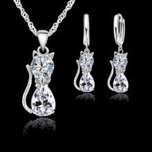 Load image into Gallery viewer, Damen Halskette und Ohrring Schmuck Set 925 Sterling Silber