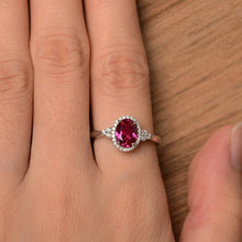 Load image into Gallery viewer, Exquisite  Platinum Plated Oval Ruby Women's Luxury Diamond Ring