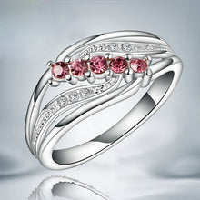 Load image into Gallery viewer, Elegant Lady Sliver Hollow Mosaic Five Red Diamond Wing Ring