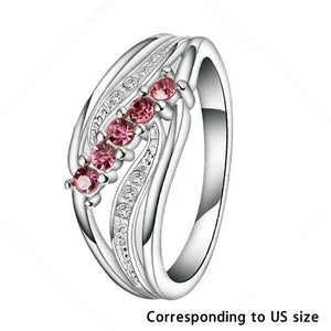 Elegant Lady Sliver Hollow Mosaic Five Red Diamond Wing Ring