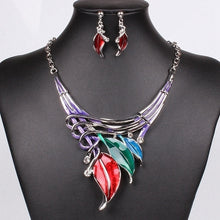 Load image into Gallery viewer, Moda Red Enamel statement Earring and Necklace Jewelry Set