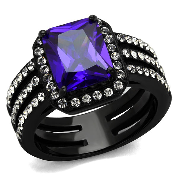 4.95 Ct Emerald Cut Amethyst Cz Stainless Steel Engagement Ring