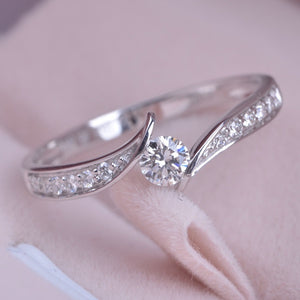 Women Everydaywear ClassicStyle 925 Sterling Silver Diamond Ring