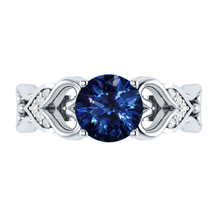 Load image into Gallery viewer, Eleganter Rundschliff Saphire Damen Ring 925 Silber / Blau