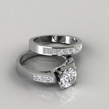 Load image into Gallery viewer, 2 Pieces / Set Charm 925 Sterling Silver Natural White Sapphire Diamond Ring