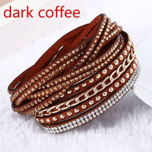 Load image into Gallery viewer, New Leather Bracelet Rhinestone Crystal Bracelet