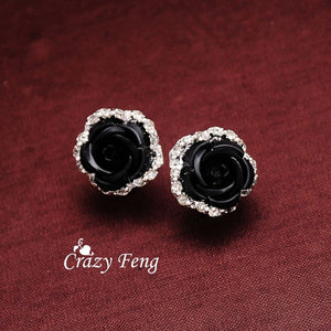 Women's New Silver Plated Crystal 6 Colors Roses Stud Earrings