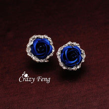 Load image into Gallery viewer, Women's New Silver Plated Crystal 6 Colors Roses Stud Earrings