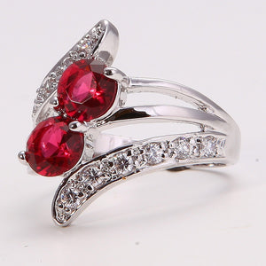 14K Solid Gold GF Ruby Women's Wedding Jewelry Ring