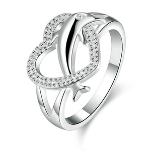 Exquisiter 925 Sterling Silber Herz Delphine Damen Ring