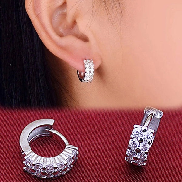 Elegant Lady1 Pair 925 Silver Double Drilling Ear Stud Hoop Earrings