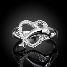 Load image into Gallery viewer, Exquisiter 925 Sterling Silber Herz Delphine Damen Ring