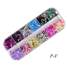 Load image into Gallery viewer, 12 Grids/Set Mixed Color Round Nail Glitter Flakes 1/2/3mm 3D Sequins Paillette Powder Nail Art