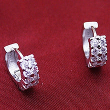 Load image into Gallery viewer, Elegant Lady1 Pair 925 Silver Double Drilling Ear Stud Hoop Earrings