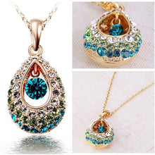 Load image into Gallery viewer, 18k Gold Genuine Rhinestone Crystal Dangle Angel's Teardrop Necklace