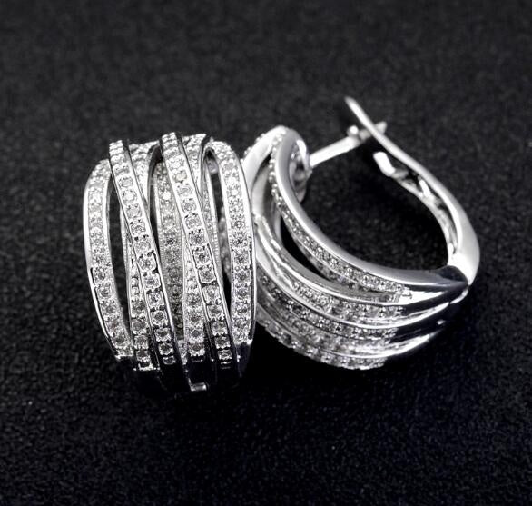Exquisite  White Sapphire 925 Sterling Silver Stud Hoop Earrings