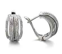Load image into Gallery viewer, Exquisite  White Sapphire 925 Sterling Silver Stud Hoop Earrings