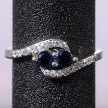 Load image into Gallery viewer, Exquisite 925 Sterling Silver Natural Two Sapphire Ring