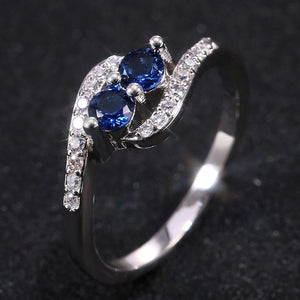 Exquisite 925 Sterling Silver Natural Two Sapphire Ring