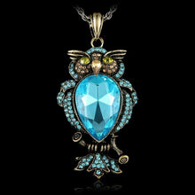 Load image into Gallery viewer, Retro Jewelry Women Crystal Owl Pendant Necklace Long Sweater Chain