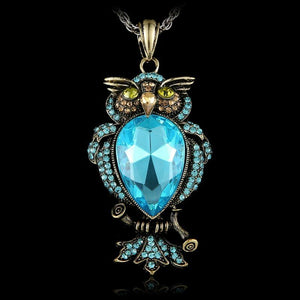Retro Jewelry Women Crystal Owl Pendant Necklace Long Sweater Chain